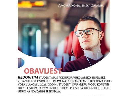 Vukovarsko-srijemska županija sufinancira prijevoz studenata vlakom
